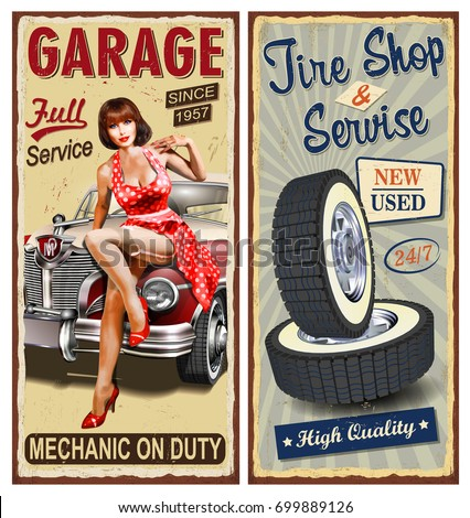 Set of vintage car  metal signs,Garage, Tire Service retro posters.