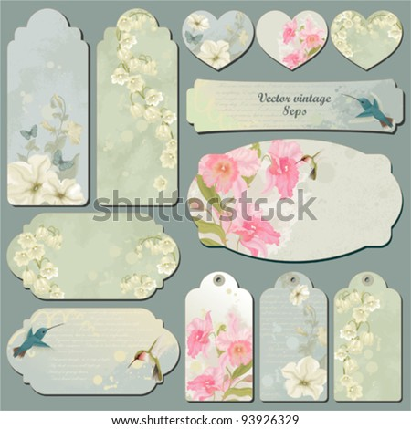 Set of vintage cards with birds, flowers and butterflies