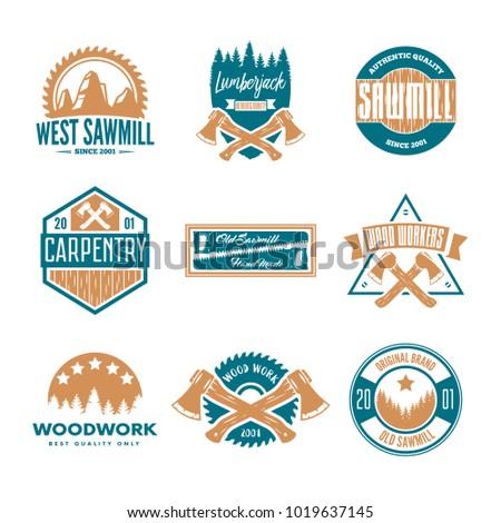 Set of vintage carpentry, woodwork and mechanic labels, badges, emblems and logo.