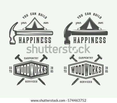 vintage carpentry logo vector download free vector art stock