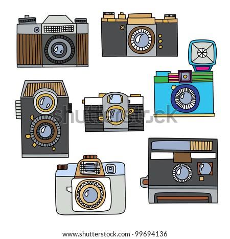 Set Of Vintage Cartoon Cameras