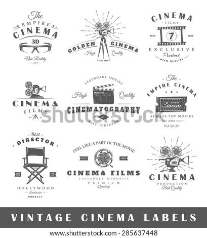 Set of vintage cinema labels. Posters, stamps, banners and design elements. Vector illustration
