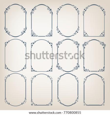 set of vintage circle frames with beautiful filigree,ornamental frame, decorative vintage borders, vector illustration