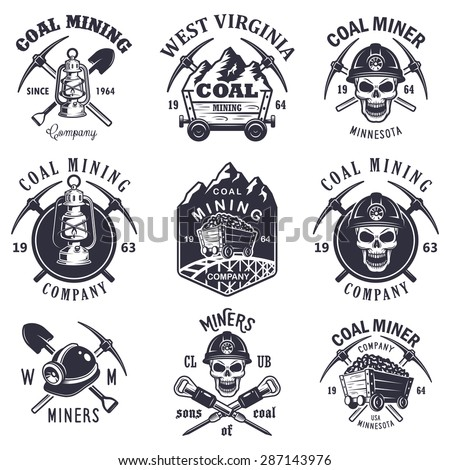 set of vintage coal mining