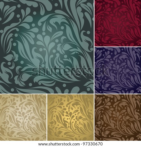 Set of vintage color seamless (vector version eps 10) - stock vector