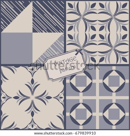 set of 4 vintage colorful patterns in retro colors. Vector illustration can be used for ceramic tile, wallpaper, textile, invitation, greeting card, web page background. #679839910