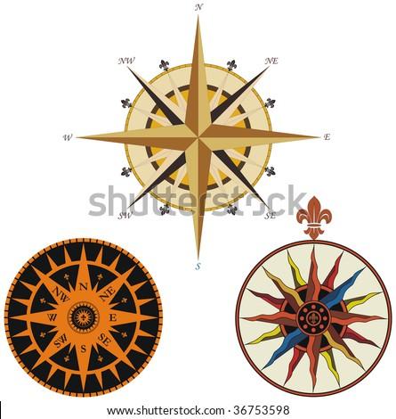 Set of vintage compasses