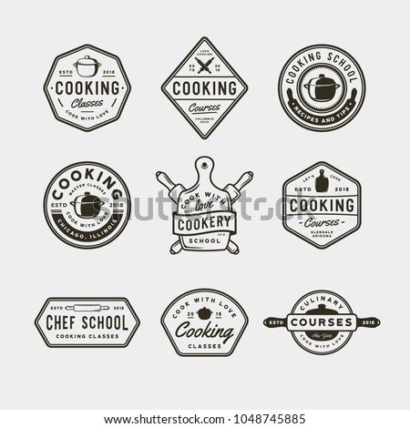 set of vintage cooking classes logos. retro styled culinary school emblems, badges, design elements, logotype templates. vector illustration