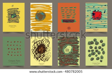 Set of Vintage Creative Cards with Hand Drawn Doodle Textures Made with Ink. Patterns for Placards, Posters, Flyers and Banner Designs.  Poster. Poster. Poster. Poster. Poster Poster Poster Poster