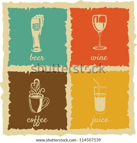 set of Vintage cups Labels
