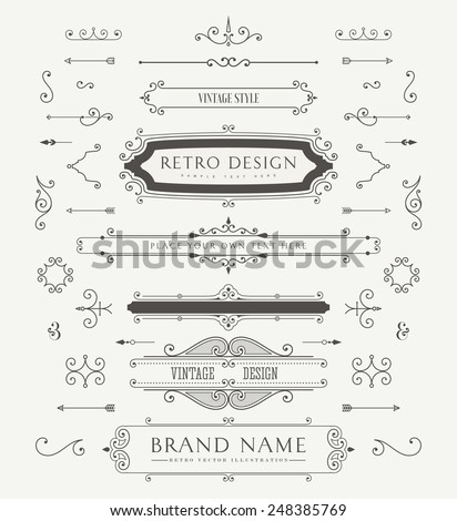 stock-vector-set-of-vintage-decorations-elements-flourishes-calligraphic-ornaments-and-frames-retro-style