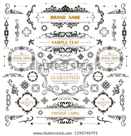 Set of Vintage Decorations Elements.Flourishes Calligraphic Ornaments and Frames with place for your text. Retro Style Design Collection for Invitations, Banners, Posters, Badges,Logotypes