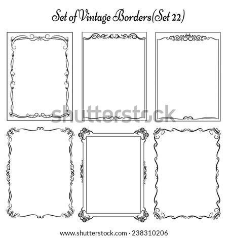 Set of vintage decorative borders, frames.