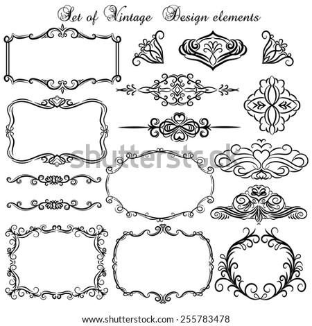 Set of Vintage decorative design elements.