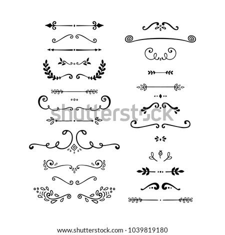 Set of vintage decorative elements. Black and white vector illustration isolated on white background.