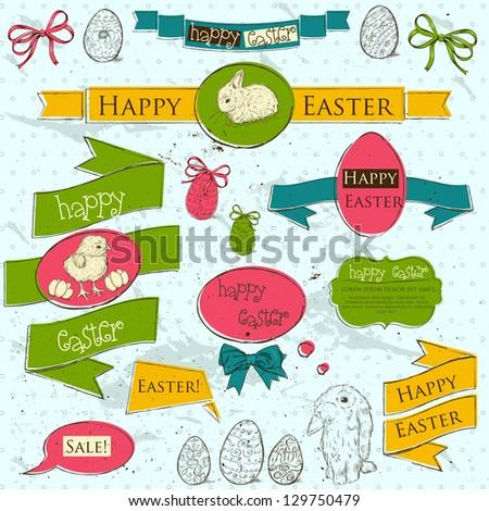 Set of vintage deign elements about Easter. Vector illustration EPS10