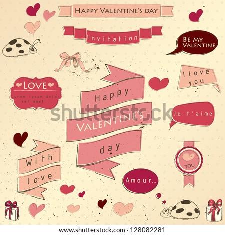 Set of vintage deign elements about love. Vector illustration EPS10