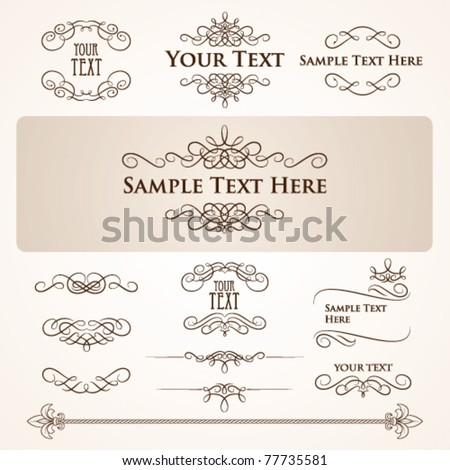 Set of vintage design elements and frames, vector