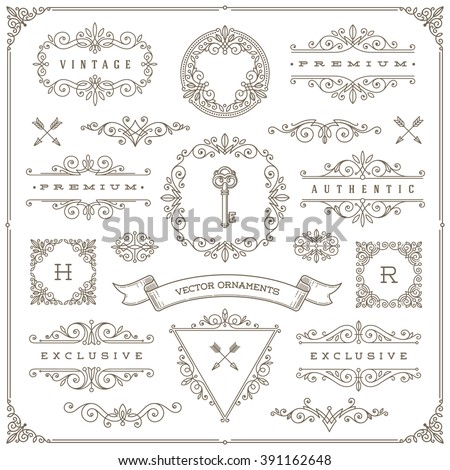 Set of vintage design elements - flourishes and ornamental frames, border, dividers, banners and other heraldic elements for logo, emblem, greeting, invitation, page design, identity design, and etc.
