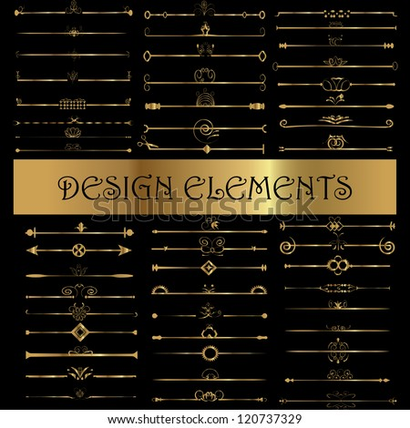 Set of vintage design elements - Vector illustration isolated on black. Calligraphic design elements and page decoration