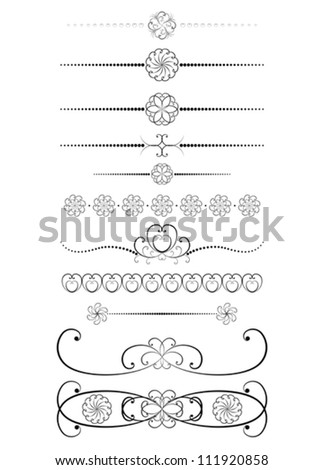set of vintage dividers vector illustration