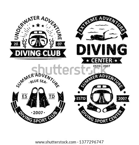 Set of vintage diving badges labels, emblems and logo