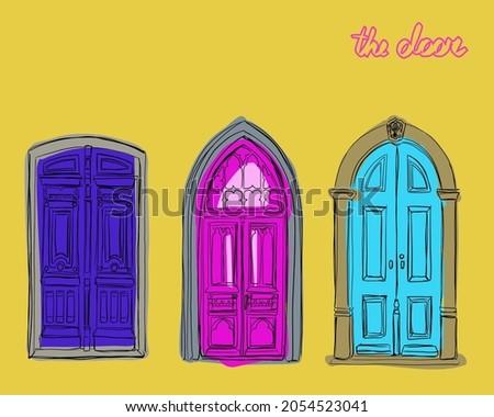 set of vintage doors vector