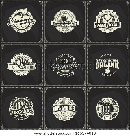Set of vintage eco green chalk lettering sticker labels of healthy organic natural farm fresh food on blackboard