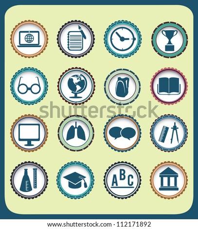 Set of vintage education icons - vector illustration