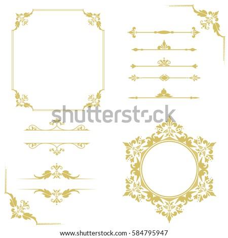 set of vintage elements. frames ...