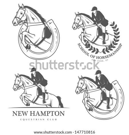 set of vintage equestrian