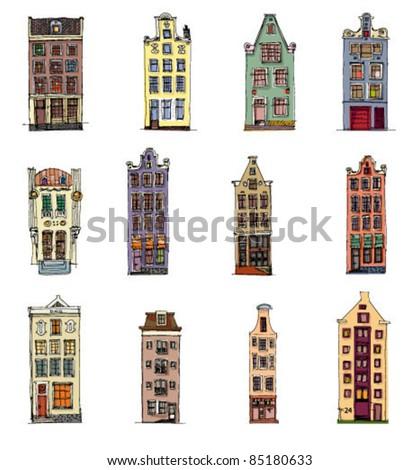 set of vintage facades