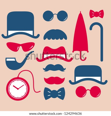 Set Of Vintage Fashion Icon Stock Vector Illustration 124294636 Shutterstock