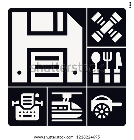 Set of 6 vintage filled icons such as carriage, subway, cross wrench, cutlery, diskette