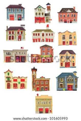 set of vintage fire stations - cartoon