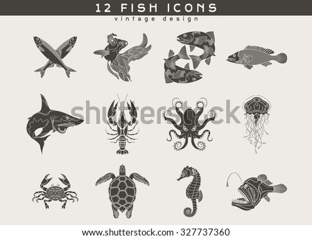 set of vintage fish and sea