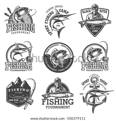 Set of vintage fishing emblems, labels, badges, logos. Layered, separate text, isolated on white background