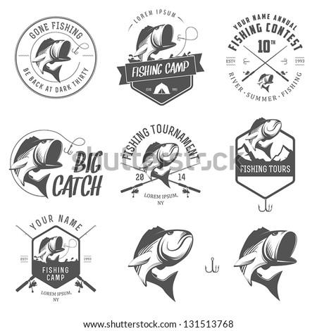 Set of vintage fishing labels, badges and design elements