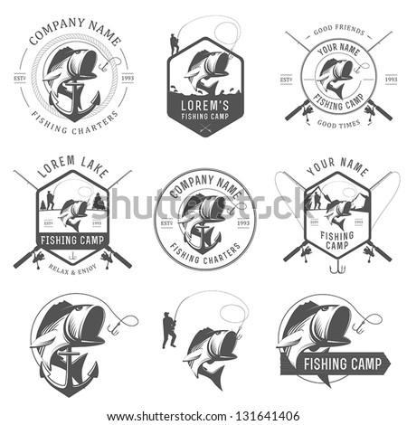 set of vintage fishing labels