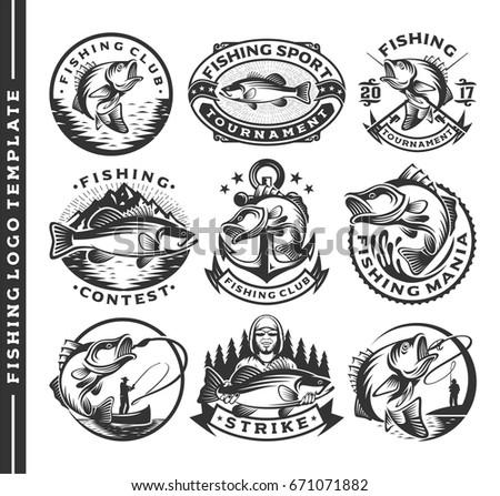 set of vintage fishing labels ...