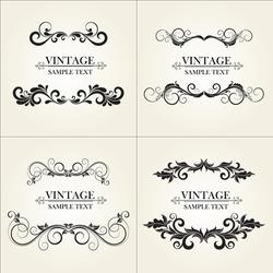 Set of vintage floral frame.  Element for design.
