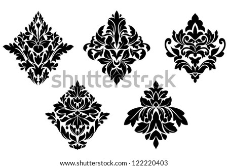 Set of vintage floral patterns and embellishments isolated on white background. Jpeg version also available in gallery