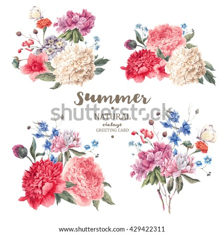 Set of vintage floral vector bouquet of peonies and garden flowers, botanical natural flowers peonies Illustration on white. Summer floral peonies greeting card, flower decoration bouquet #429422311
