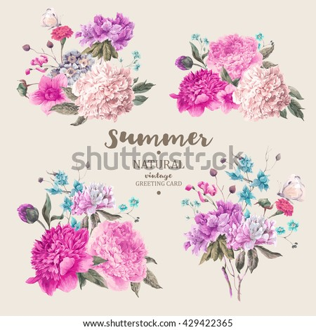 Set of vintage floral vector bouquet of peonies and garden flowers, botanical natural peonies Illustration on white. Summer floral peonies greeting card #429422365