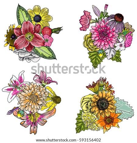 set of 4 vintage floral vector