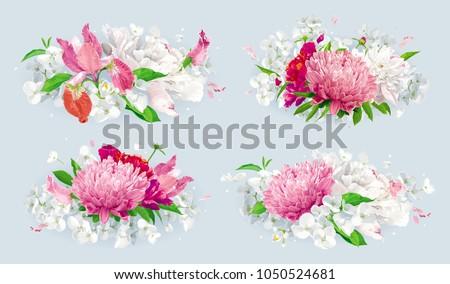 set of vintage floral vector