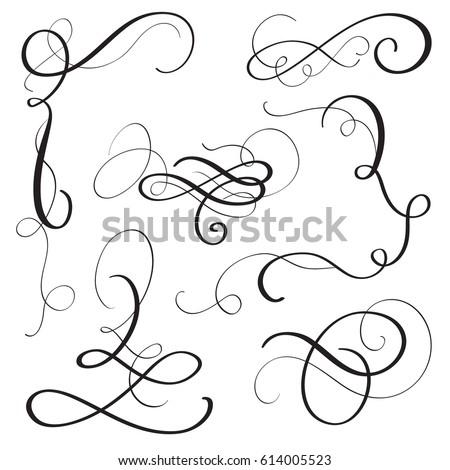 set of vintage flourish decorative art calligraphy whorls for design. Vector illustration EPS10