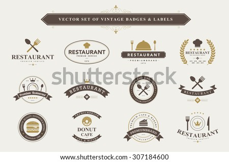 set of vintage  food badges and