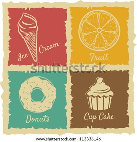set of Vintage Food Labels