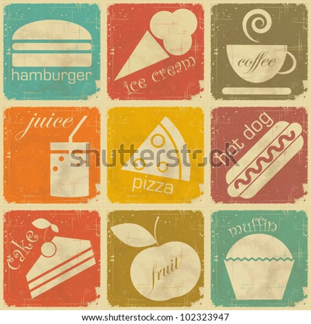 set of Vintage Food Labels - Retro Signs with Grunge Effect - vector illustration